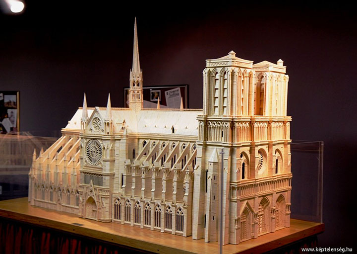 Notre Dame Cathedral (Paris)-Gigantic Sculptures Made Using Simple Matchsticks-1