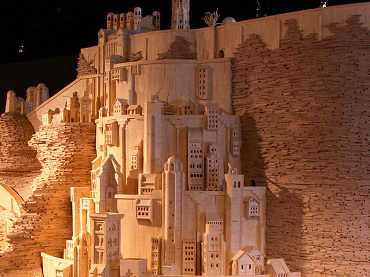 Minas Tirith (Lord of the Rings)-Gigantic Sculptures Made Using Simple Matchsticks-2