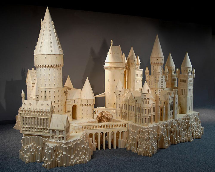 Hogwarts Sorcerer's Stone (Harry Potter)-Gigantic Sculptures Made Using Simple Matchsticks-4
