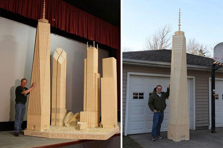 World Trade Center -Gigantic Sculptures Made Using Simple Matchsticks-