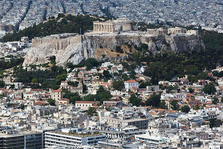 The Acropolis-The real surroundings Of Famous Tourist Destination Monumentsstcard-13