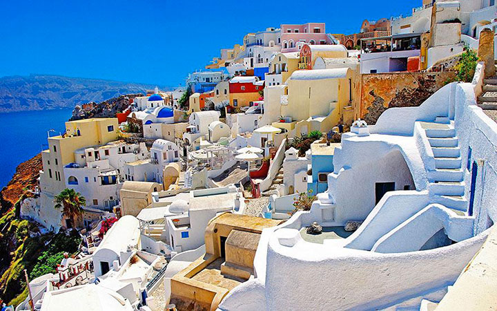 Santorini-The real surroundings Of Famous Tourist Destination Monumentsstcard-20