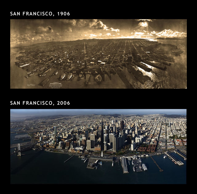 San Francisco 1906 - 2006-The Change In The Skyline Of World's Top 11 Most Famous Cities-11