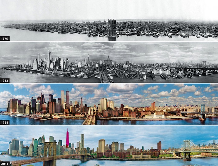 Manhattan 1876 - 1932 - 1998 - 2013-The Change In The Skyline Of World's Top 11 Most Famous Cities-13