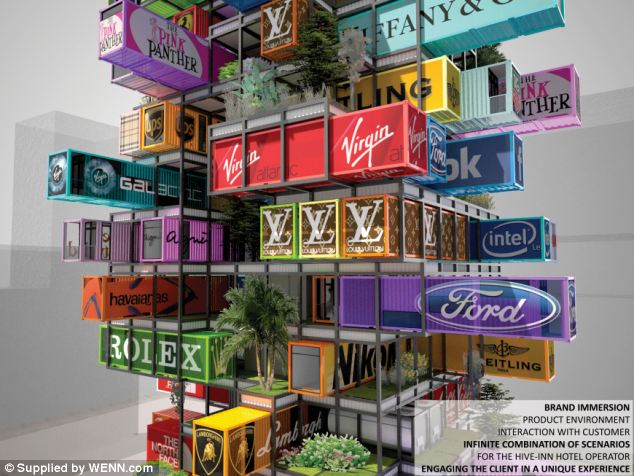 Jenga buildings for advertisement