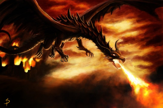 Fire shooting dragons