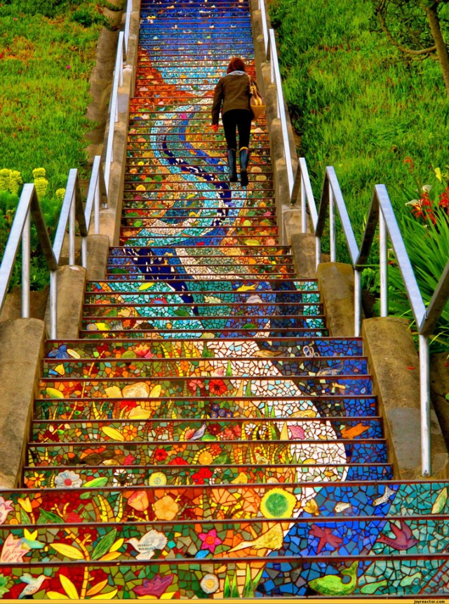 Tiled staircase 16th Avenue - San Francisco-Most Beautiful Stairs That Will Make You Dreaming-3