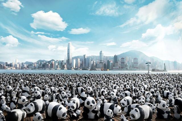 1600 Paper Mache Pandas Invade The City Of Hong Kong-