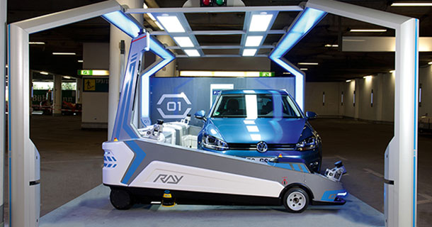 ray a robotic assistant to park your cars at d sseldorf. Black Bedroom Furniture Sets. Home Design Ideas
