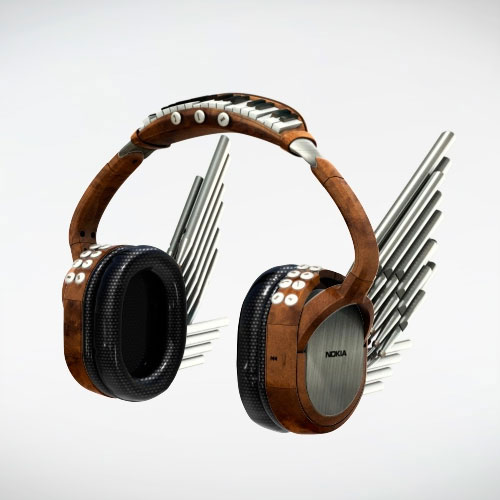 Nokia headphones, inspired by an organ with the keyboard above