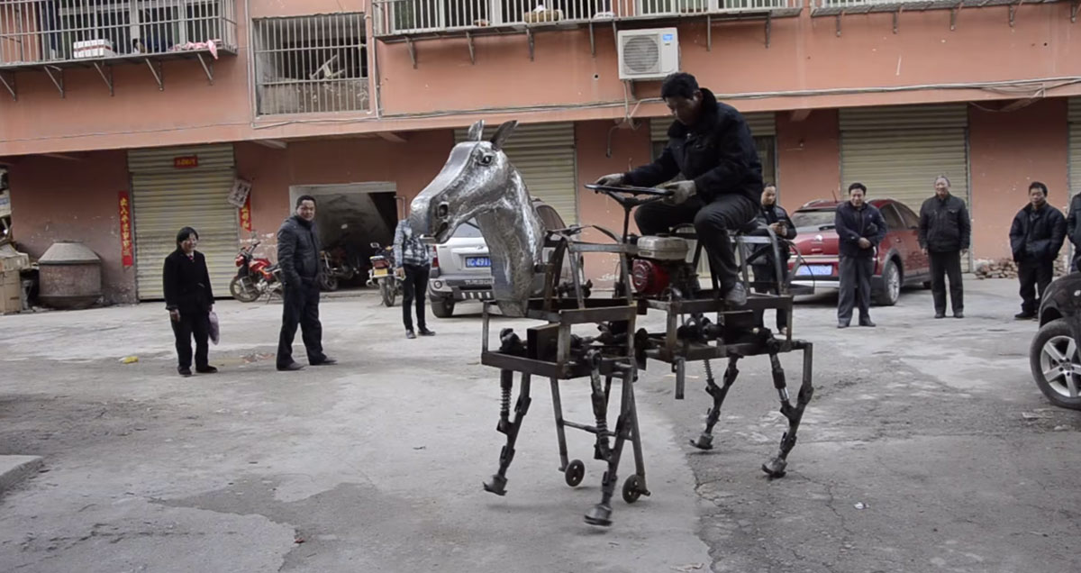 A Chinese Man Makes A Mechanical Horse To Walk In The Street-