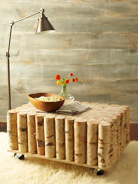 A man makes a wonderful coffee table using birch logs-7
