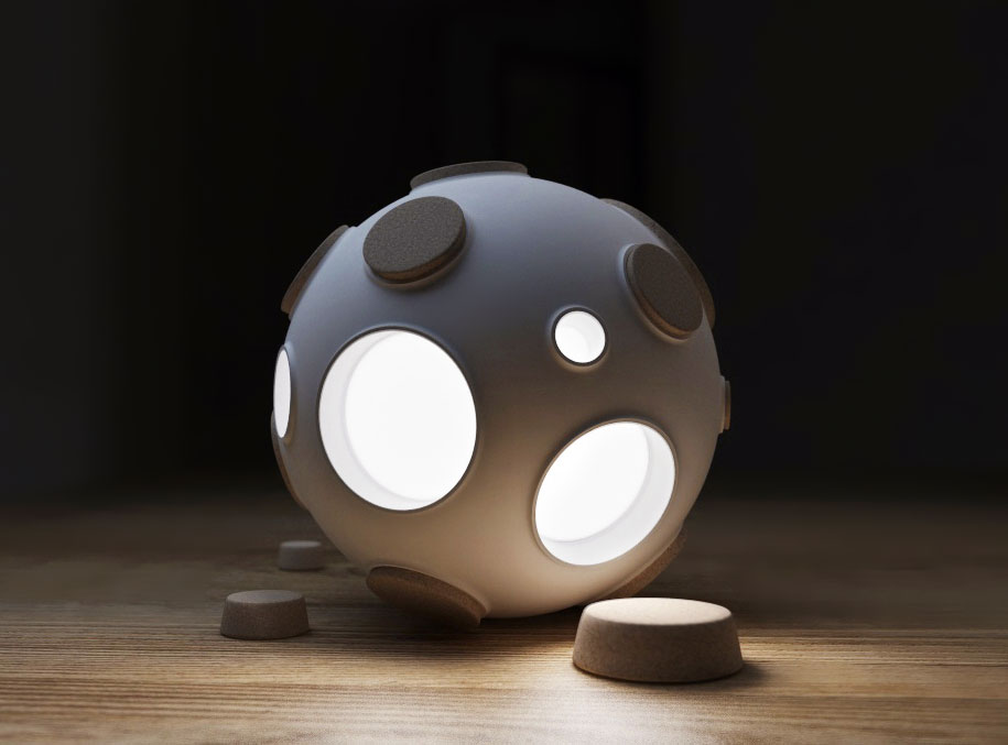 Control The Intensity Of This Innovative Moon Lamp By Plugging Craters-
