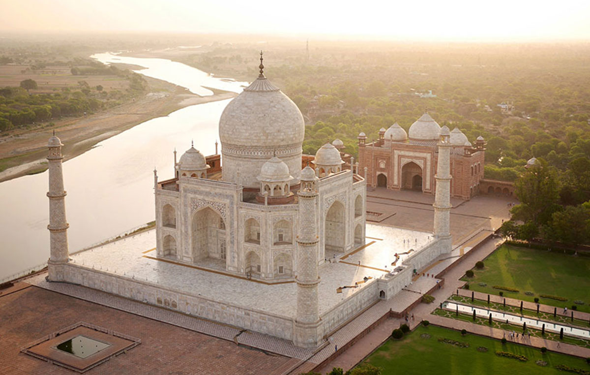The Taj Mahal in the morning light, India-21 Most Beautiful Places Photographed By Drones Where Overflight Is Illegal Today-11