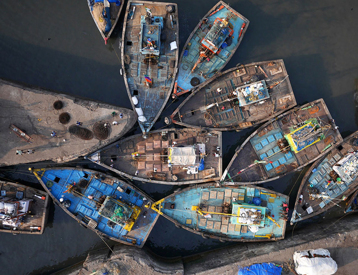 Fishing boats in Mumbai, India-21 Most Beautiful Places Photographed By Drones Where Overflight Is Illegal Today-20