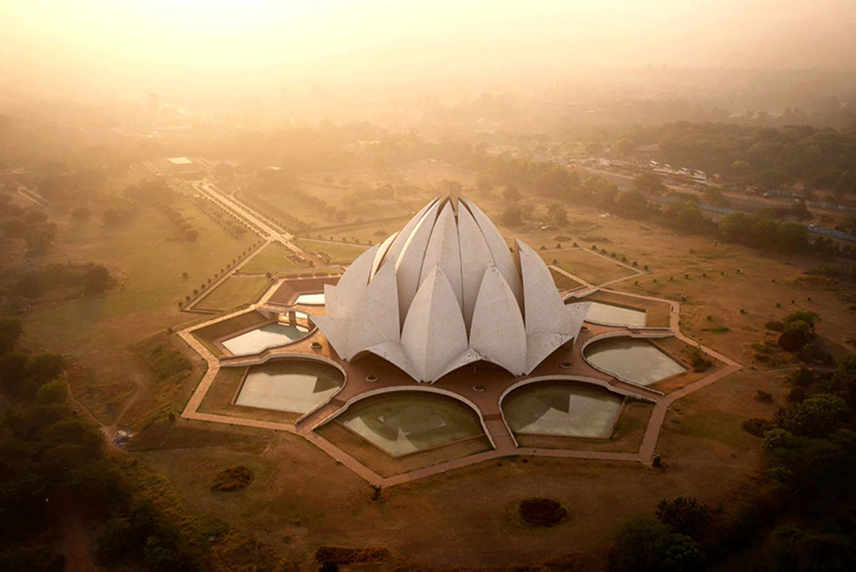 The Lotus Temple in Delhi, India-21 Most Beautiful Places Photographed By Drones Where Overflight Is Illegal Today-4