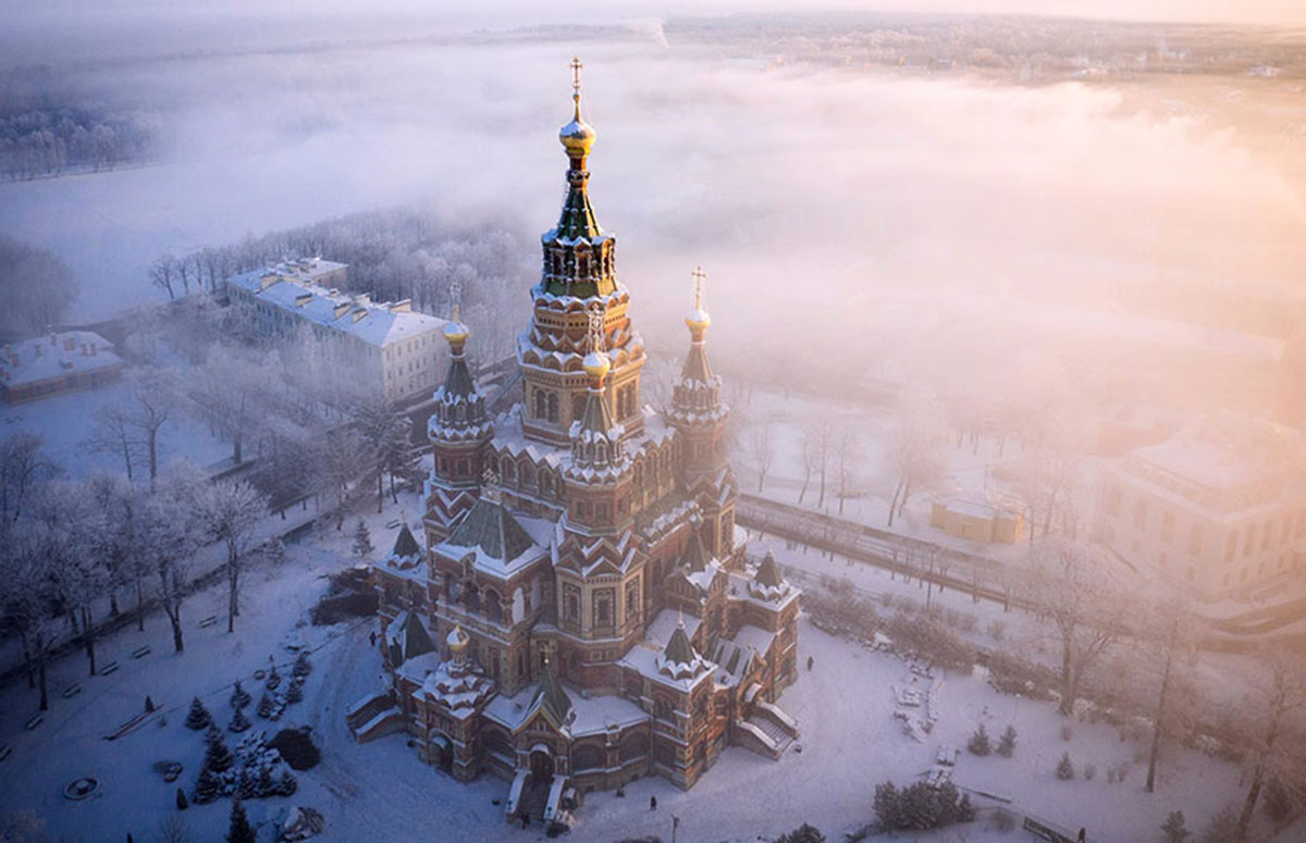 St. Peter & Paul Cathedral, Peterhof, Russia-21 Most Beautiful Places Photographed By Drones Where Overflight Is Illegal Today-5