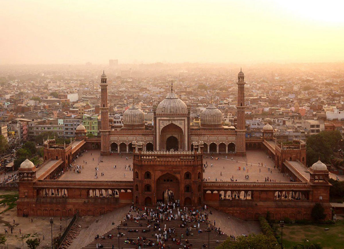 The great mosque Jama Masjid, India-21 Most Beautiful Places Photographed By Drones Where Overflight Is Illegal Today-8