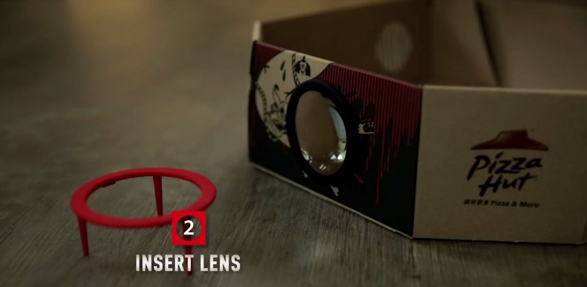 Make A Real Movie Projector From Pizza Hut's New Box Using Smartphone-1
