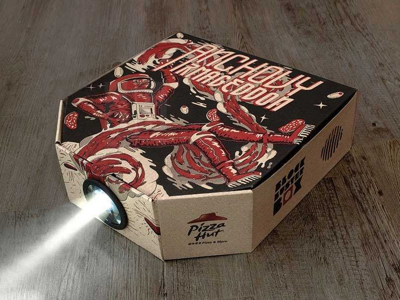 Make A Real Movie Projector From Pizza Hut's New Box Using Smartphone-4