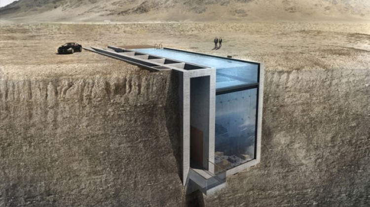 Casa Brutale A Stunning Concept Of Home Hanging From Cliffside - This architects stunning concept home hangs from a cliffside in iceland