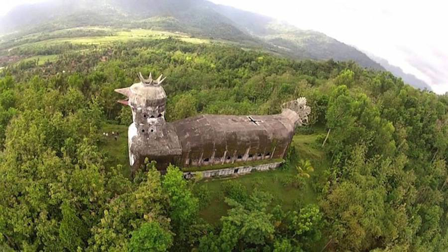 There Is An Abandoned Church In Indonesia That Looks Like A Huge Chicken -