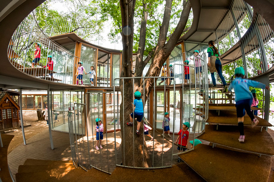 12 green tree houses built around the trees without for Houses built in trees