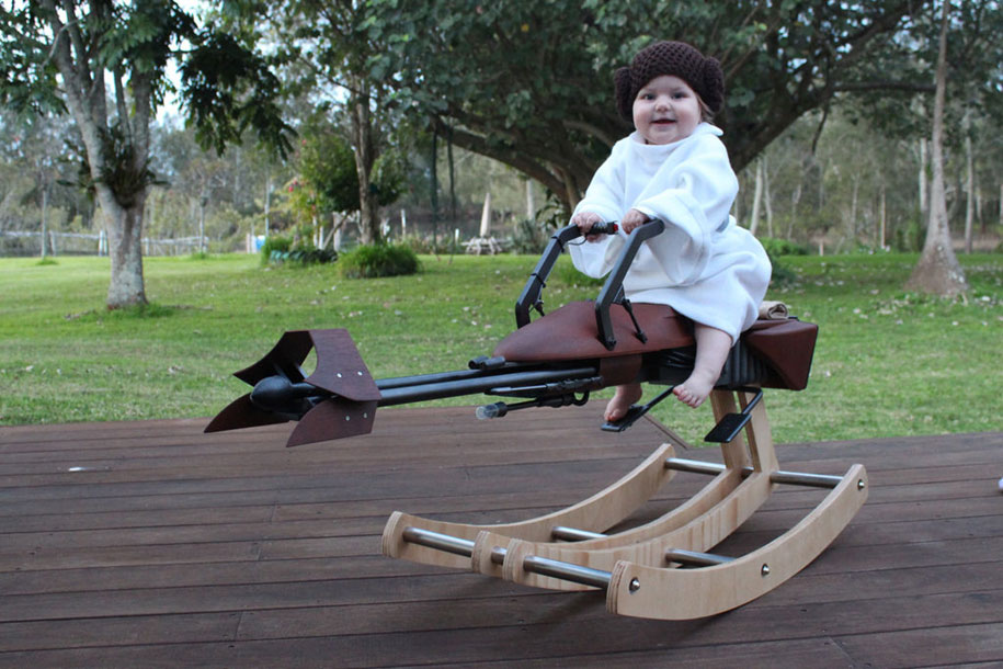 Geek Father Makes A Star War Speeder Bike Model As Gift On Her Daughters First
