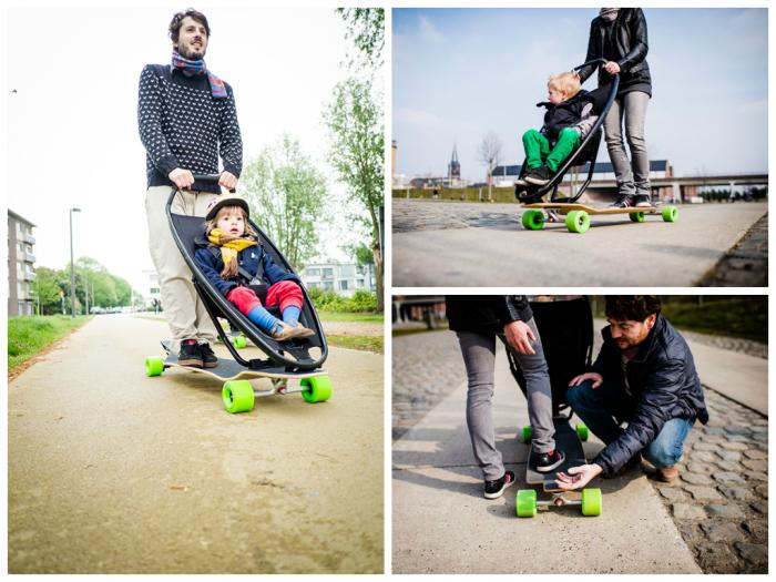 Longboardstroller, a stroller-skateboard combined-3