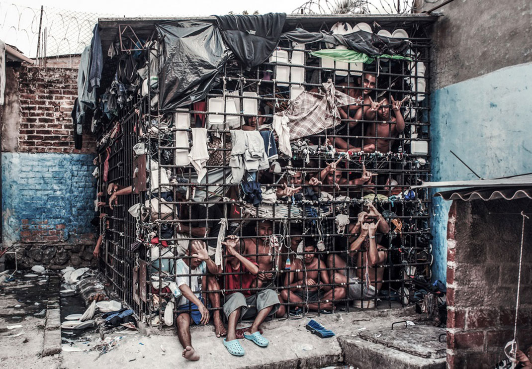 An overcrowded jail in El Salvador