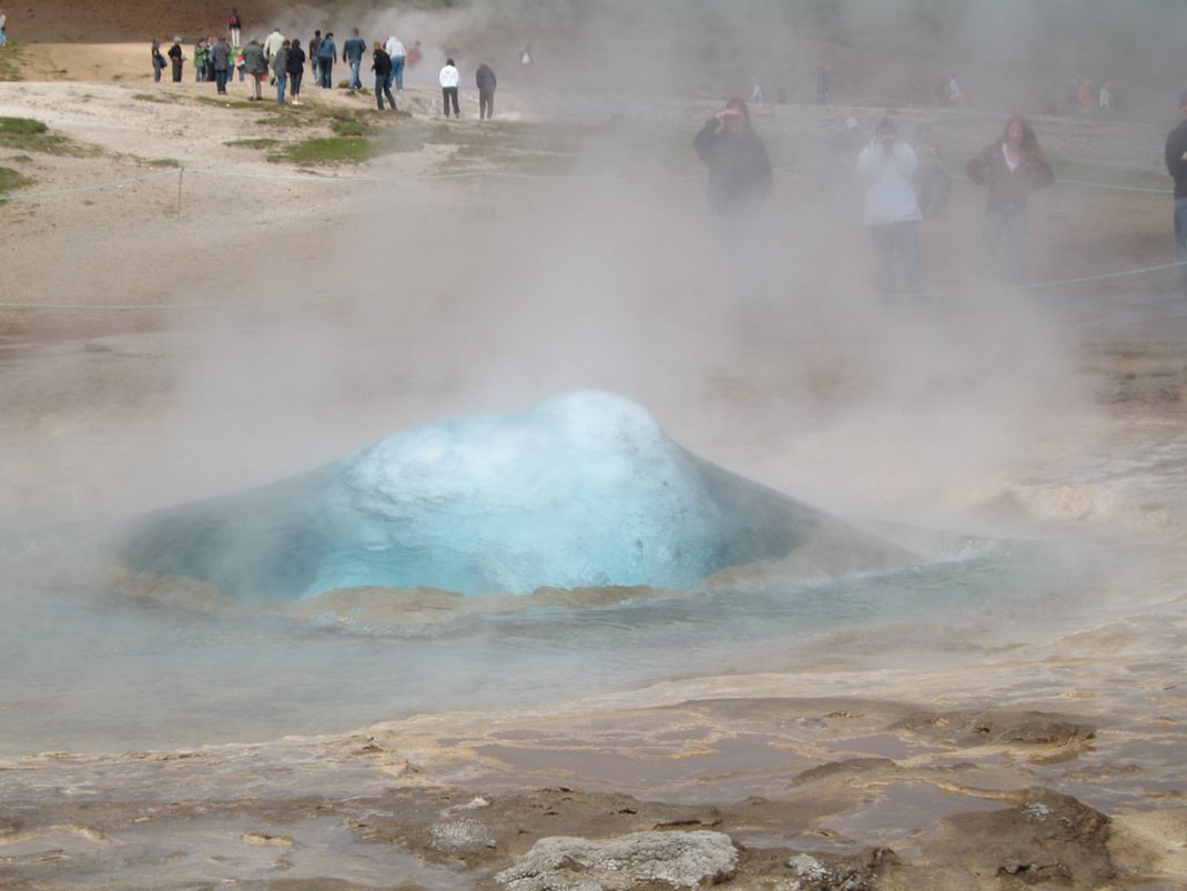 Just before the geyser erupt