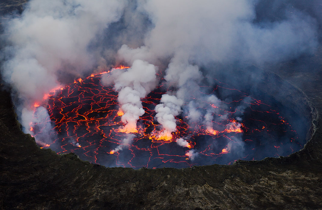The lava lake of Ethiopia's Erta Ale volcano, it is constantly active