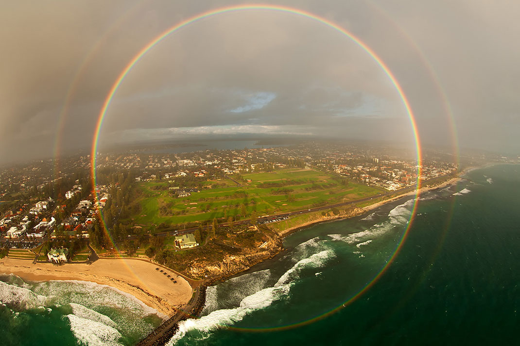 A rainbow photographed from an airplane