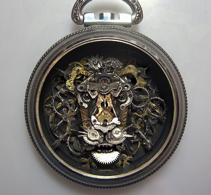 Amazing Life Like Sculptures Made From The Old Watch Parts-3