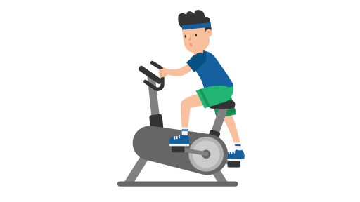 512px Man on an Exercise Bike Cartoon