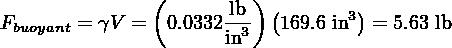 (      lb )(       3) Fbuoyant = γV = 0.0332in3-  169.6 in = 5.63 lb