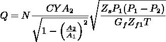 ∘ -------------          CY A2     ZsP1 (P1 − P2) Q = N ∘-----(--)2  ---G--Z--T---         1 −  AA21         f f1