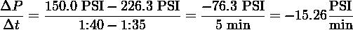 ΔP--  150.0 PSI-−-226.3 PSI  − 76.3-PSI        PSI- Δt  =      1:40 − 1:35     =   5 min   = − 15.26min