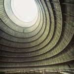 A cooling tower in a power plant
