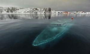 The Sunken yacht in Antarctica