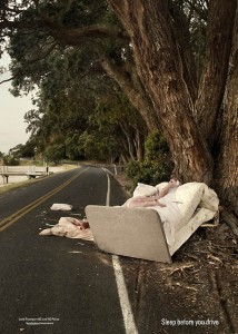 A shocking add against drivers with improper sleep