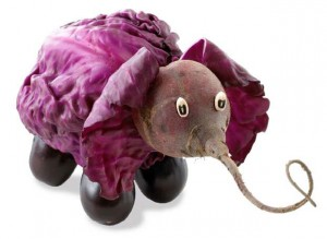 Elephant Sculptures made From Vegetable