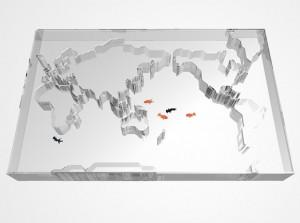Aquarium as map of the world