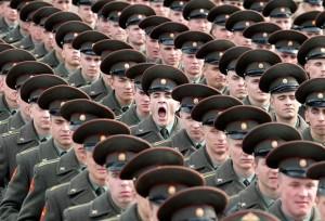 soldiers standing in queue