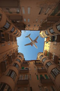 a view of jet through joined buildings