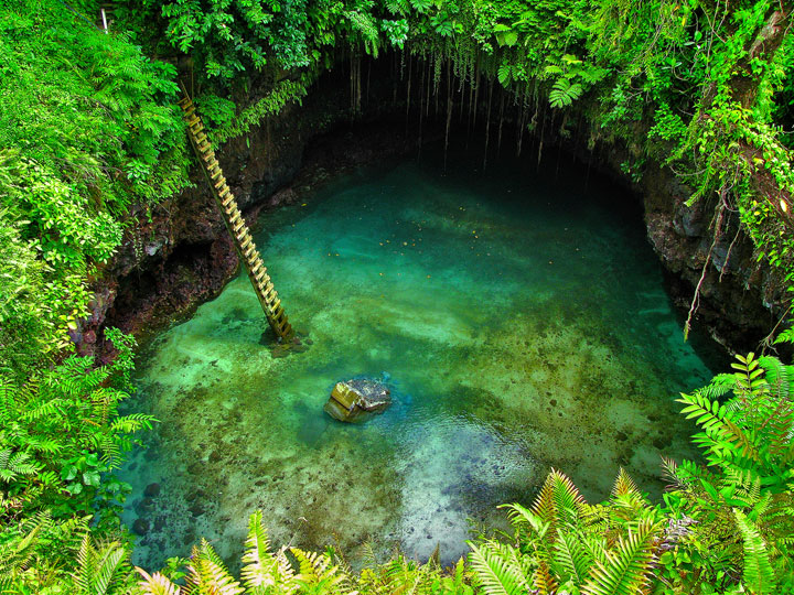 Lotofaga-Upolu island-Incredible Inground Natural Swimming Pool In The Middle Of Pacific