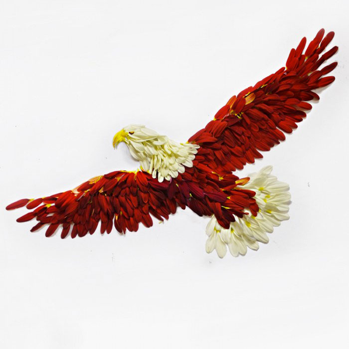 Beautiful Multicolored Birds Made From Hundreds Of Flower Petals-12