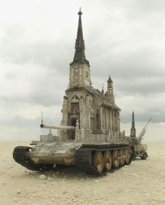 An Artist Superimposes The World Of War With That Of Religion By Making church-Tanks-