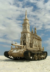 An Artist Superimposes The World Of War With That Of Religion By Making church-Tanks-1