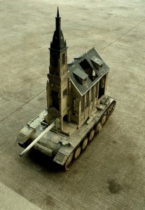 An Artist Superimposes The World Of War With That Of Religion By Making church-Tanks-3